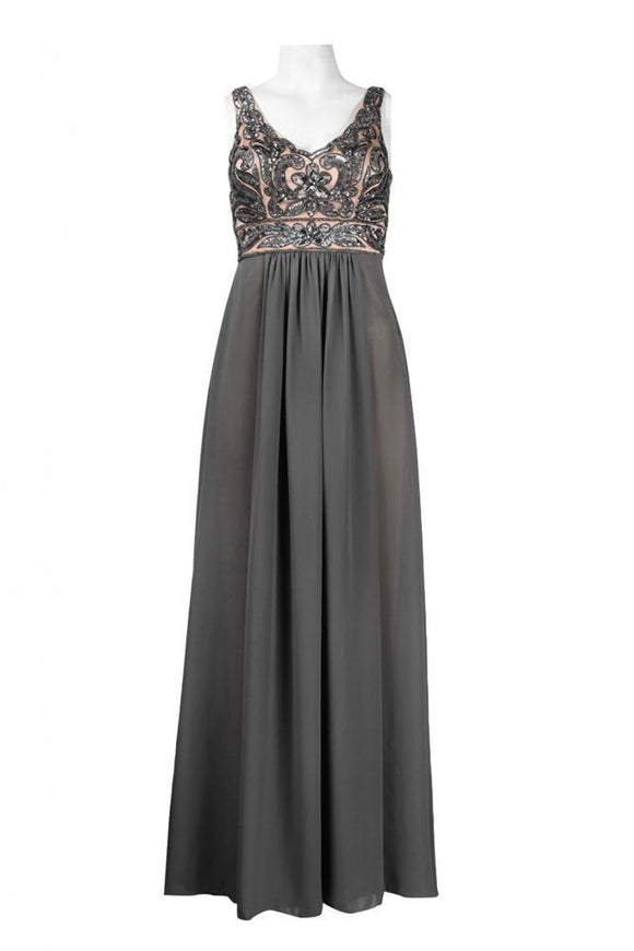 Sue Wong N4102 Charcoal Sequin & Chiffon Evening Gown - Elegant Bridal Designs