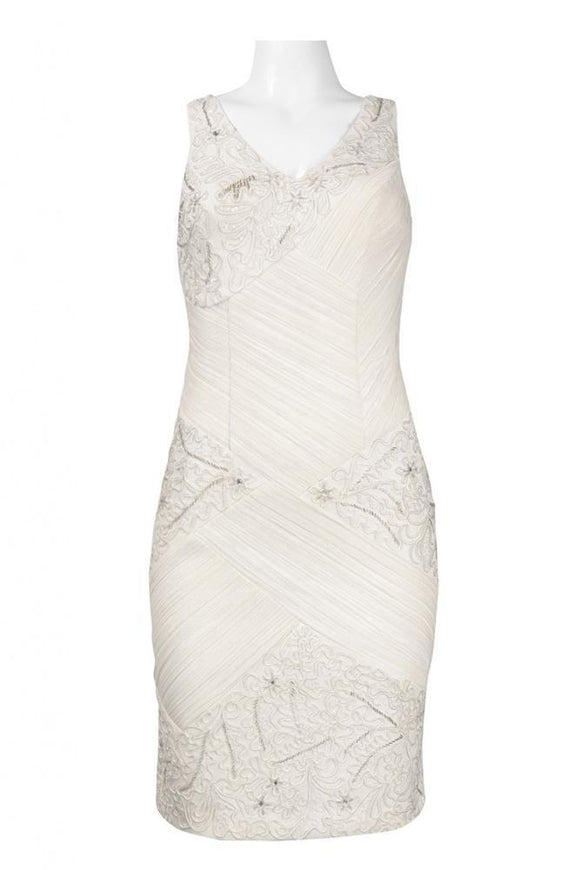 Sue Wong N4109 White Chiffon & Embellished Satin Cocktail Dress - Size 14 - Elegant Bridal Designs
