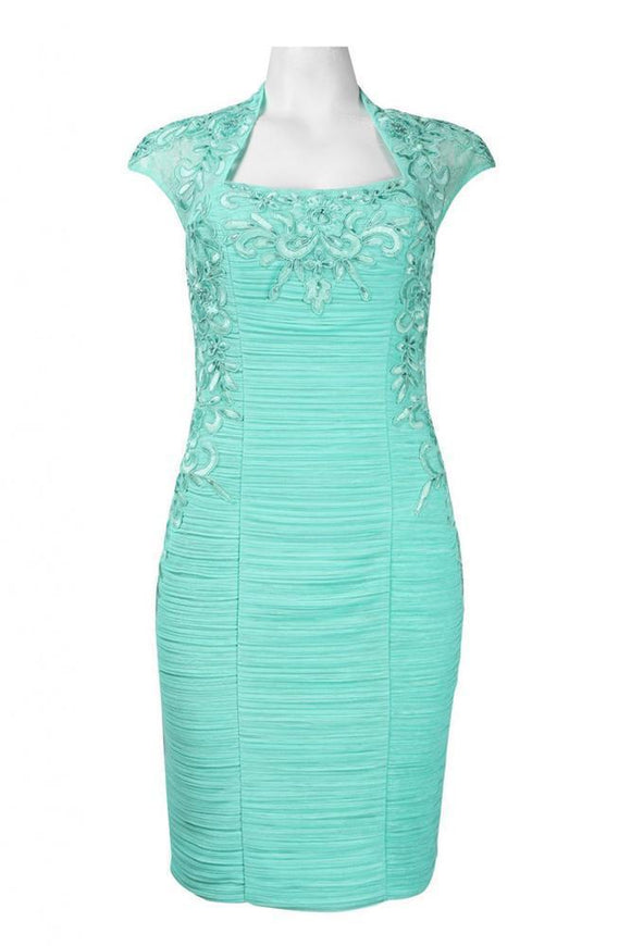 Sue Wong N4162 Bolero Embroidered Sheath Turquoise Cocktail Dress - Elegant Bridal Designs