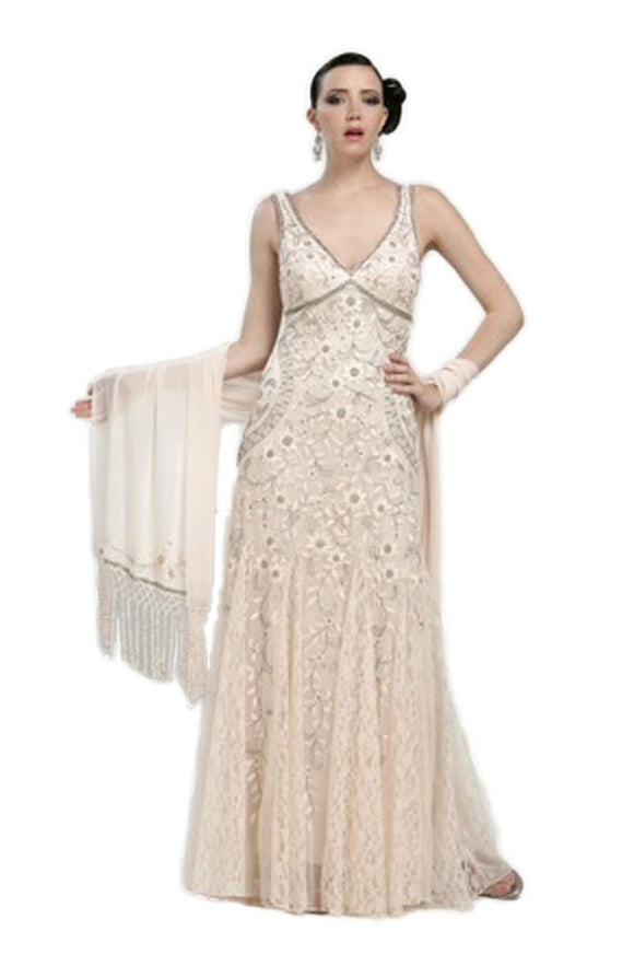 Sue Wong N1118 Gorgeous Antique Embroidered Beige Wedding Gown - Elegant Bridal Designs
