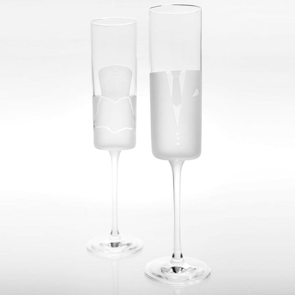 Rolf Glass Series 2 Dress & Tux Wedding Cheers Champagne Flutes - Elegant Bridal Designs