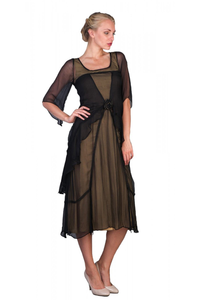 Nataya 10709 Women's 1920's Vintage Style Great Gatsby Dress in Black/Gold - Elegant Bridal Designs