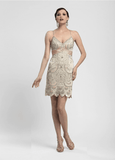 Sue Wong N4111 Champagne Satin Filigree Cocktail Dress - Size 2 - Elegant Bridal Designs