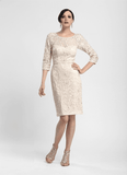 Sue Wong N4118 Blush Illusion Lace Embellished Cocktail Dress - Size 4 - Elegant Bridal Designs