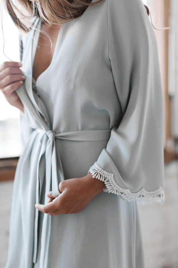 Mae's Sunday Luxurious Silk Robe No. 2 with Lace Cuff - Elegant Bridal Designs
