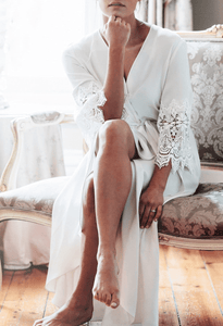 Mae's Sunday Luxurious Silk Robe No. 10 Full Length with Lace Sleeves - Elegant Bridal Designs