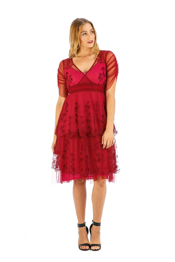 Nataya AL-237 Zoey Vintage Style Party Dress in Raspberry - Elegant Bridal Designs