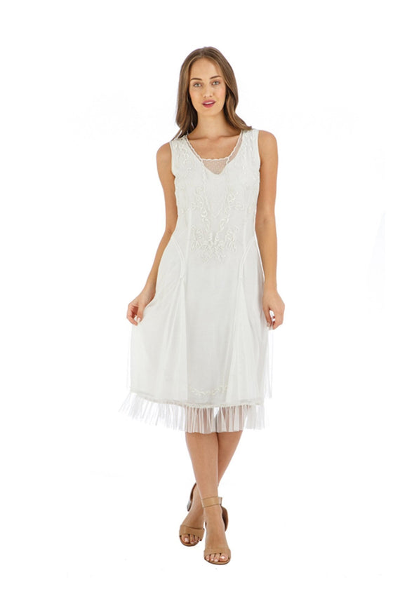 Nataya AL-254 Tara 1920s Flapper Style Party Dress in Ivory - Elegant Bridal Designs