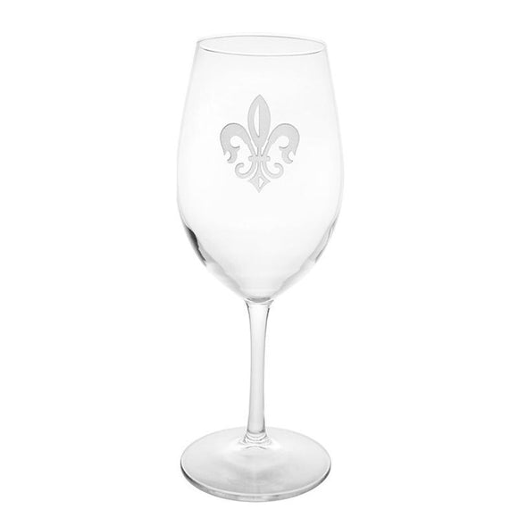 Rolf Glass Fleur De Lis All Purpose 18 oz. Wine Glasses (Set of 4) - Elegant Bridal Designs