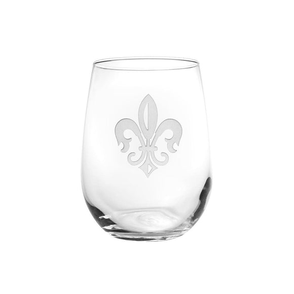 Rolf Glass Fleur De Lis Stemless 17 oz. Wine Glass Tumbler (Set of 4) - Elegant Bridal Designs
