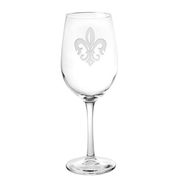 Rolf Glass Fleur De Lis White Wine 12 oz. Glasses (set of 4) - Elegant Bridal Designs