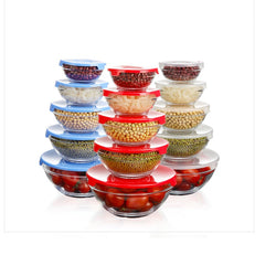 GLASS ROUND BOWLS WITH LIDS - SET OF 5