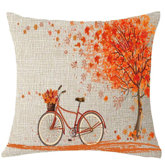 Happy Autumn Tree Maple Leaf Bicycle Pillow Cover Decorative