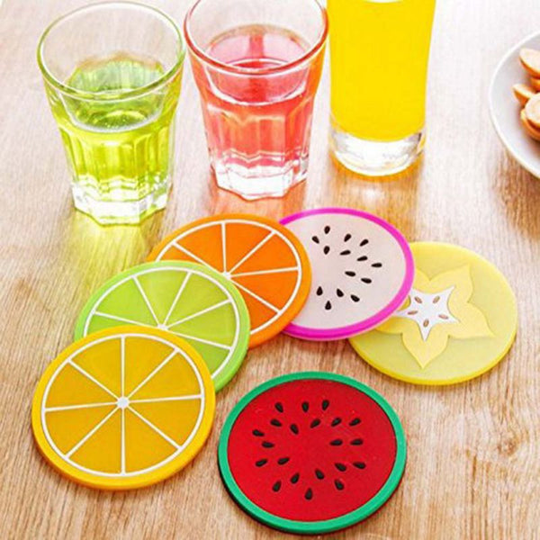 6 Pack OF Round Silicone Durable Non-slip Heat Resistant Coasters Mats