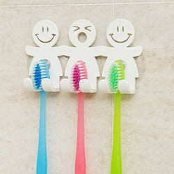 Cute Smiley Face Wall Toothbrush Holder with Suction Cups