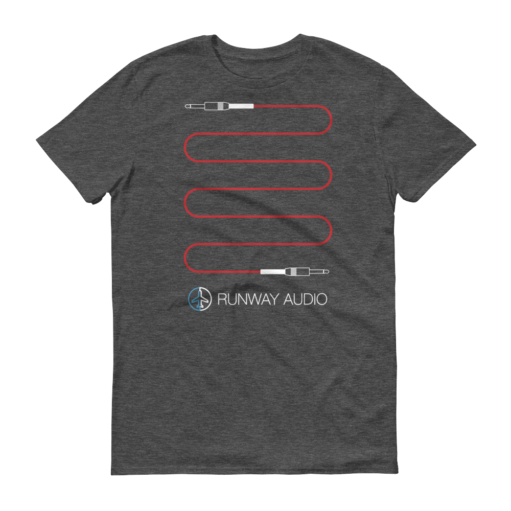 Red Instrument Cable on Gray T-Shirt