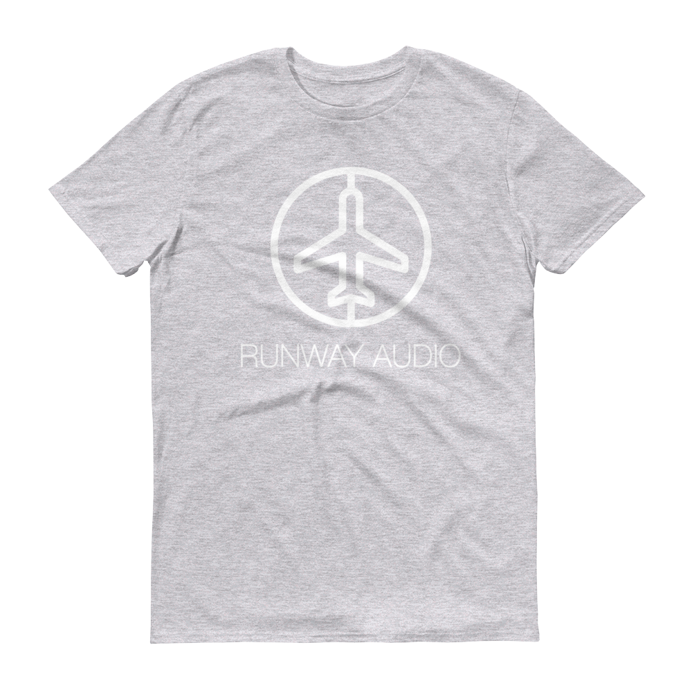 Light Gray T-Shirt with White Runway Audio Logo