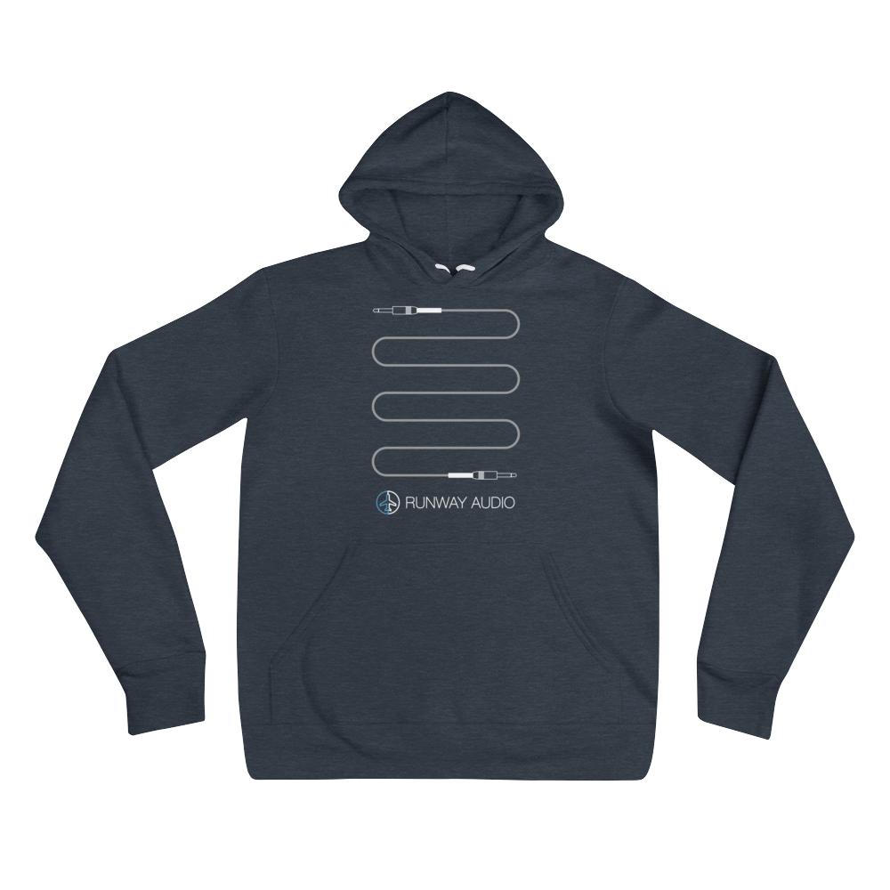 Gray High-Quality Instrument Cable on Blue Hoodie