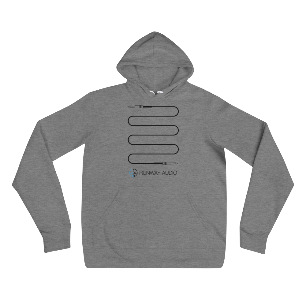 Black Custom Electric Guitar Cable on Gray Hoodie