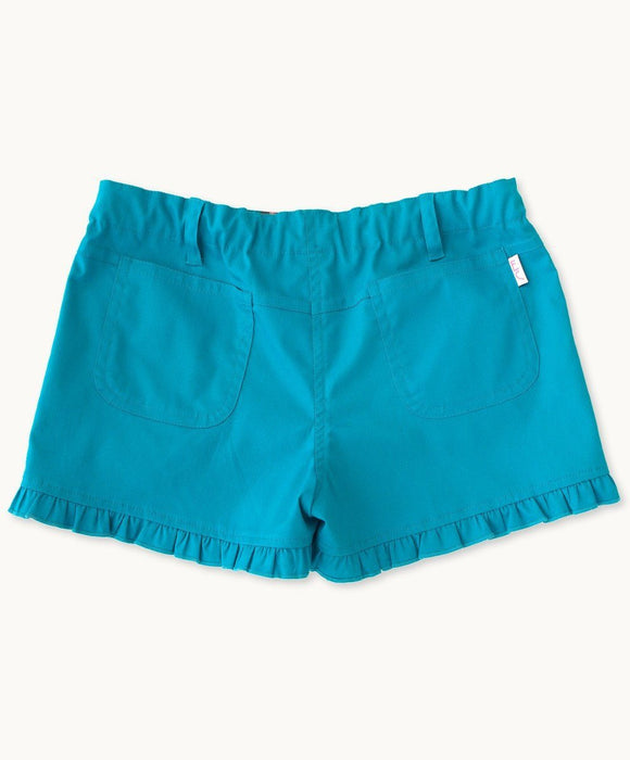 Turquoise Ruffle Shorts - Visible.Clothing
