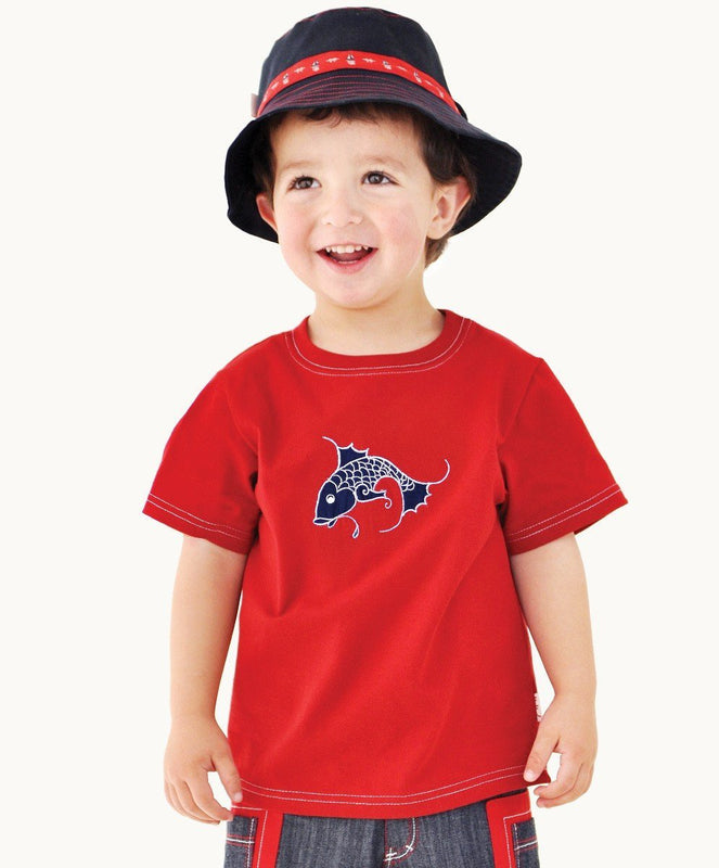 Red Fish Cotton T-Shirt - Visible.Clothing