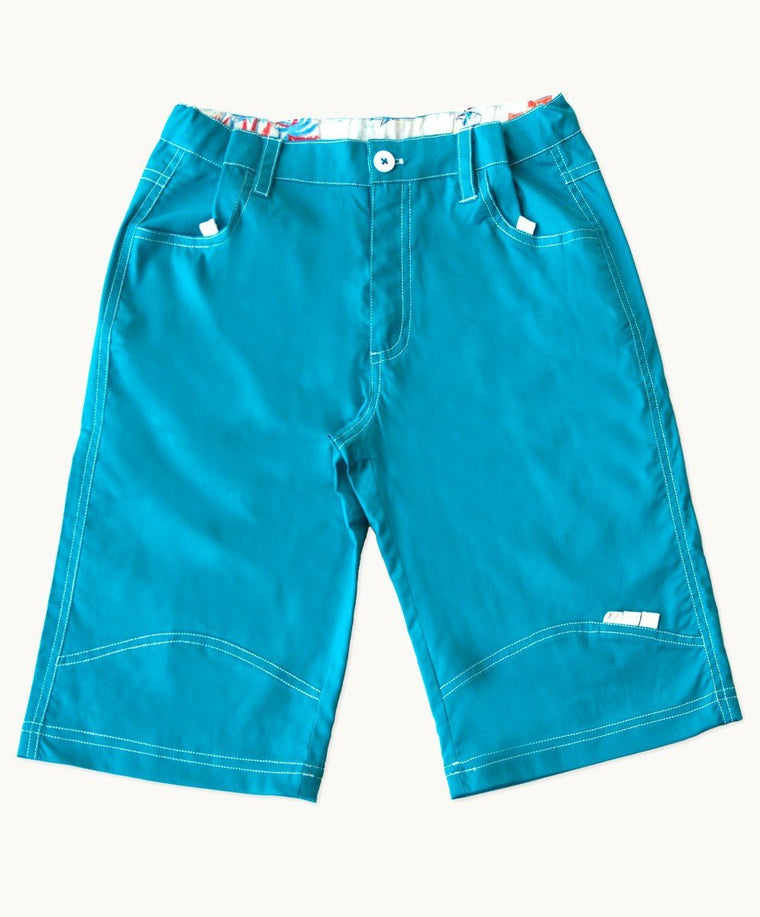 Turquoise Cotton Shorts