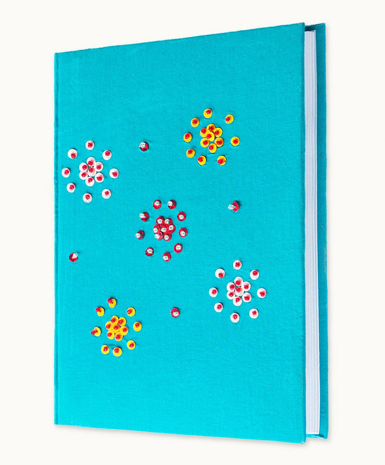 Aqua A5 Hand Stitched Notebook