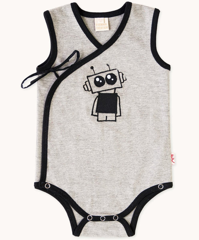Grey Robot Side Tie Romper - Visible.Clothing