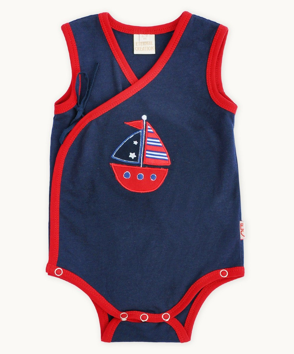 Navy Boat Side Tie Romper - Visible.Clothing