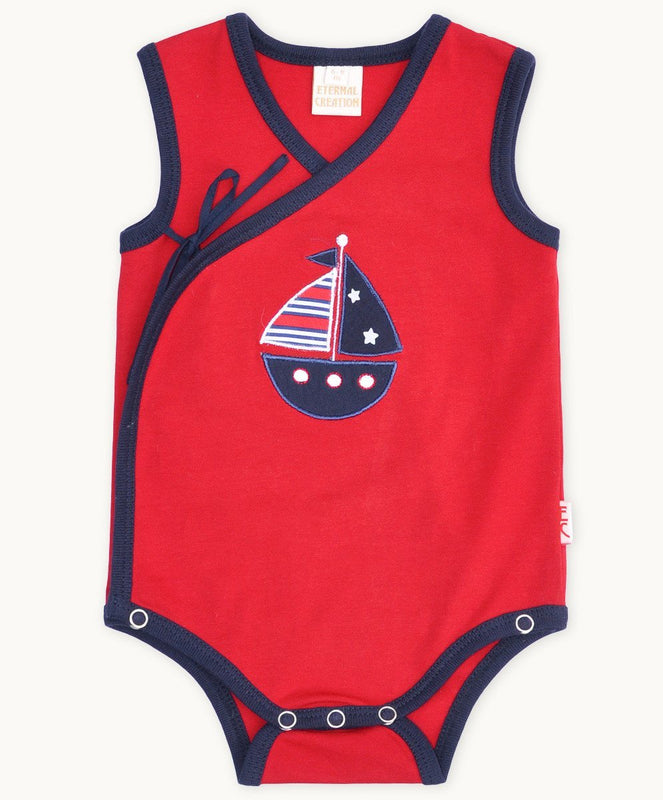 Red Boat Side Tie Romper - Visible.Clothing