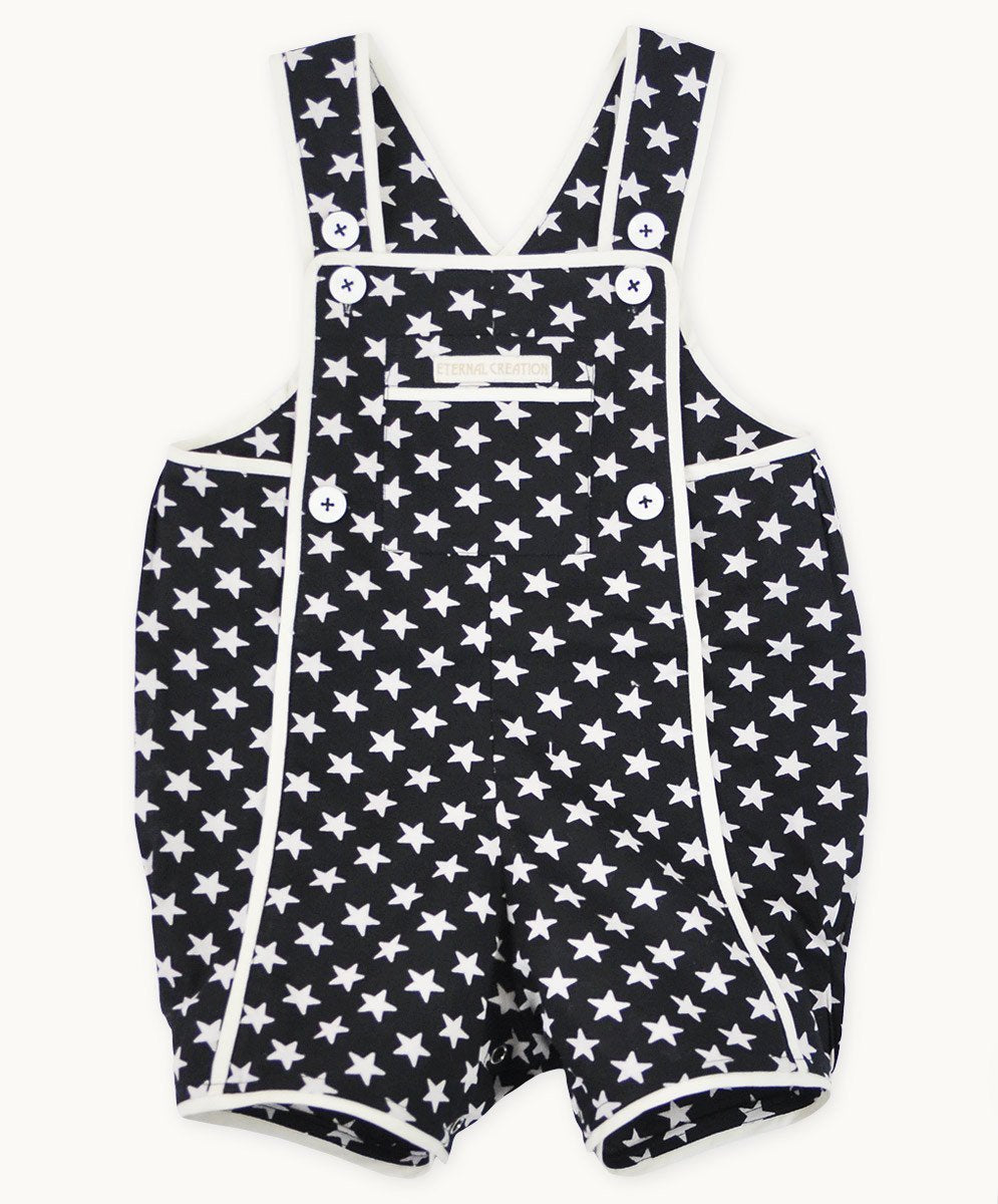Black Star Cotton Playsuit - Visible.Clothing