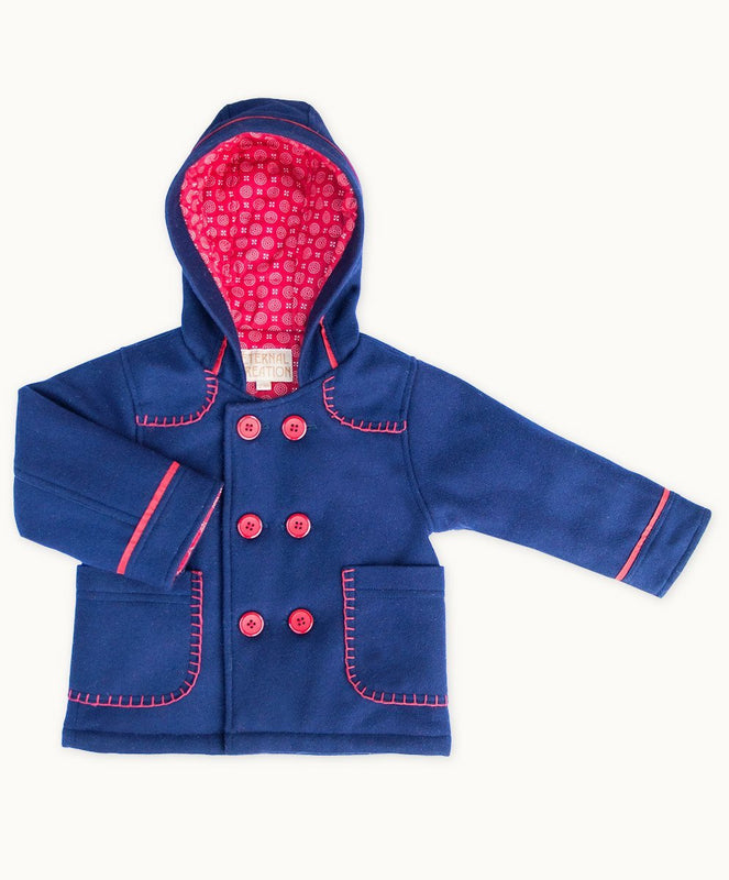 Navy Blanket Stitch Toddler Wool Coat - Visible.Clothing