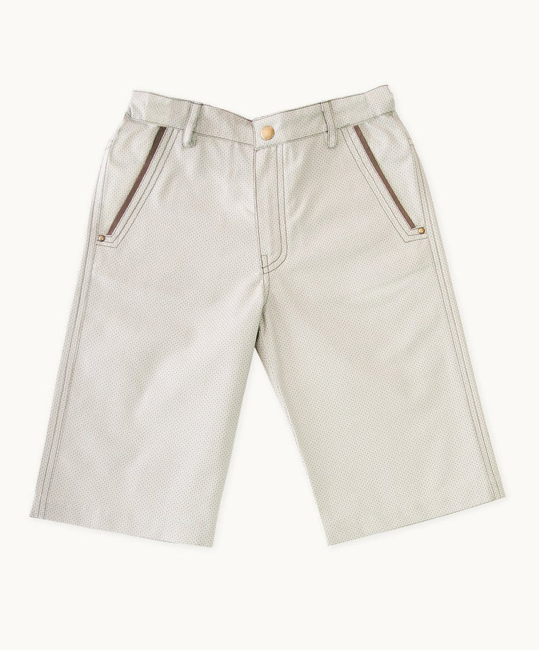 Beige Check Twill Shorts