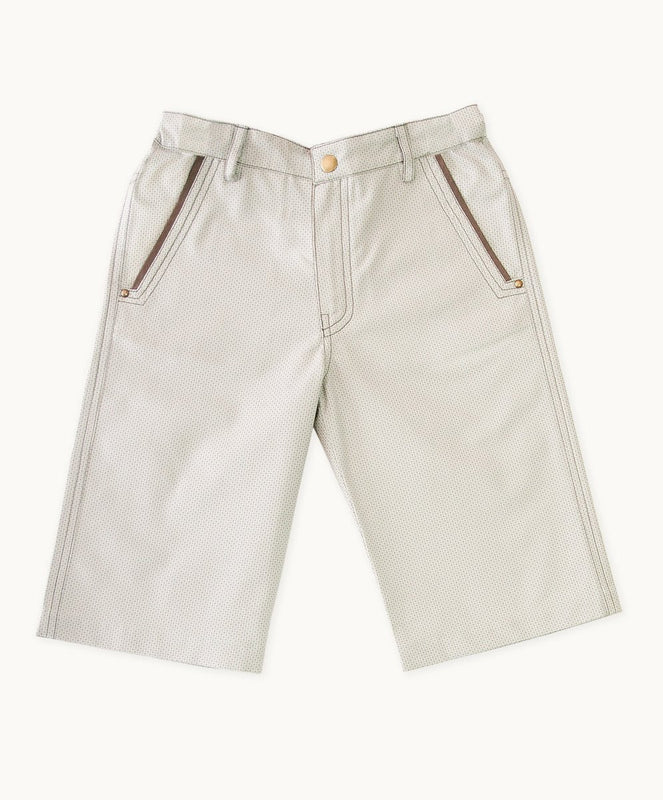 Beige Check Twill Shorts - Visible.Clothing