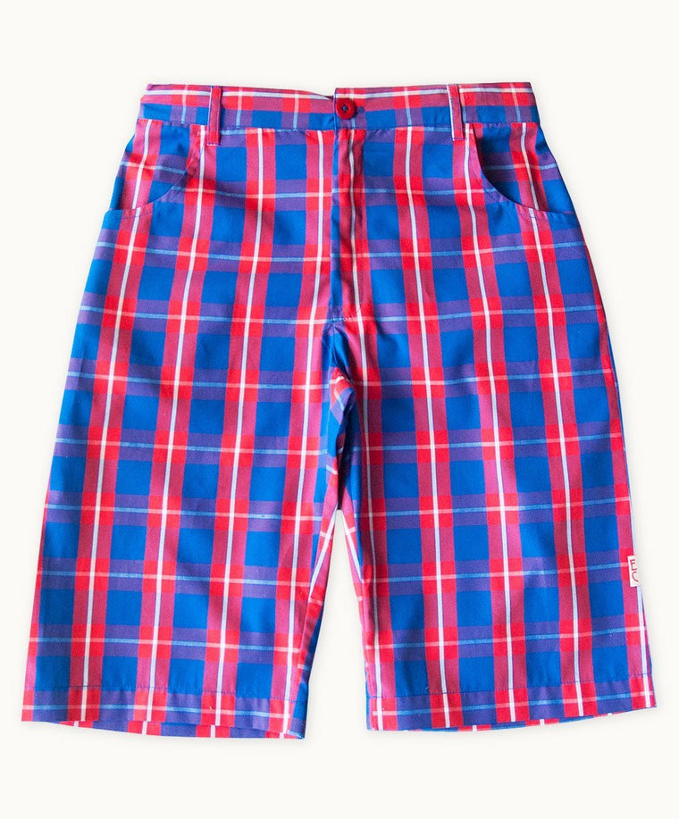 Blue Boy Check Cotton Shorts