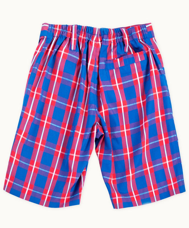 Blue Boy Check Cotton Shorts - Visible.Clothing