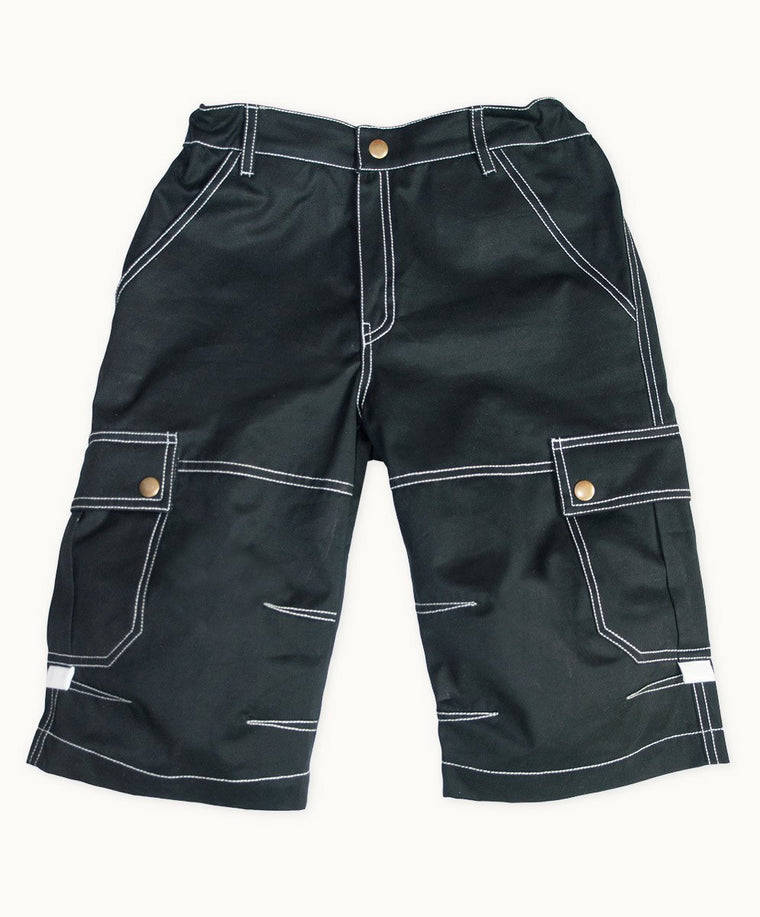 Black Twill Summer Shorts