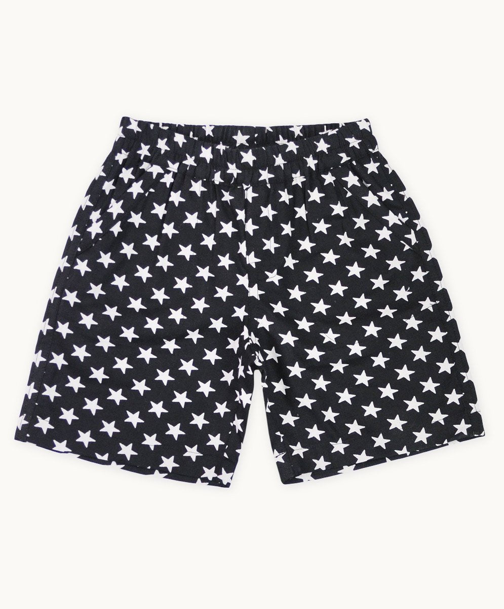 Black Star Cotton Shorts - Visible.Clothing