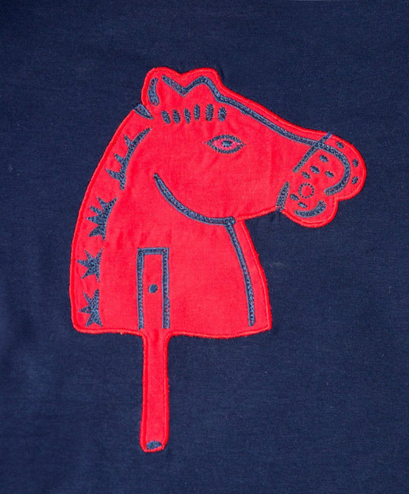 Navy Horse Winter T-Shirt - Visible.Clothing