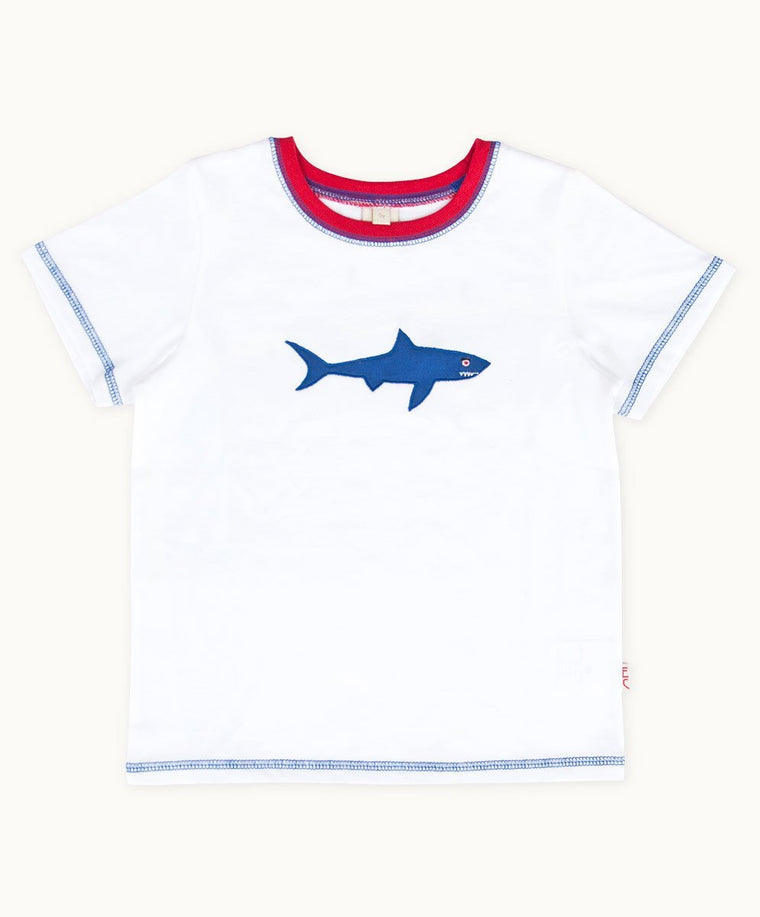 White Shark Embroidered Cotton T-Shirt