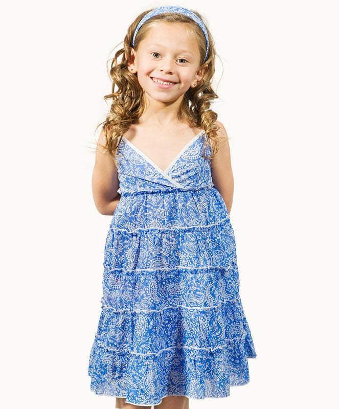 Periwinkle Paisley Cotton Panel Sundress - Visible.Clothing