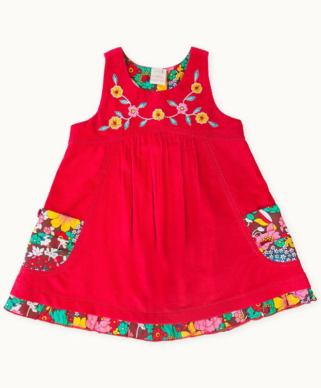 Red Floral Fiesta Embroidered Dress - Visible.Clothing