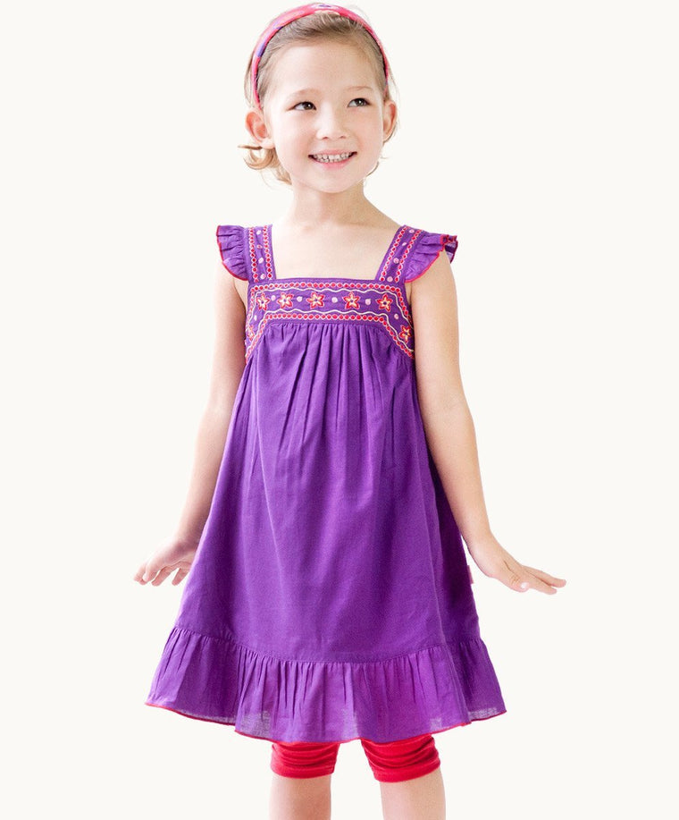Gorgeous Purple Embroidered Sundress