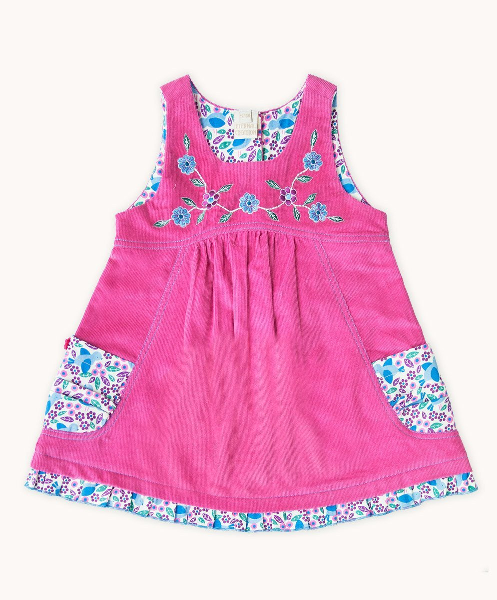 Rose Cord Embroidered Dress - Visible.Clothing