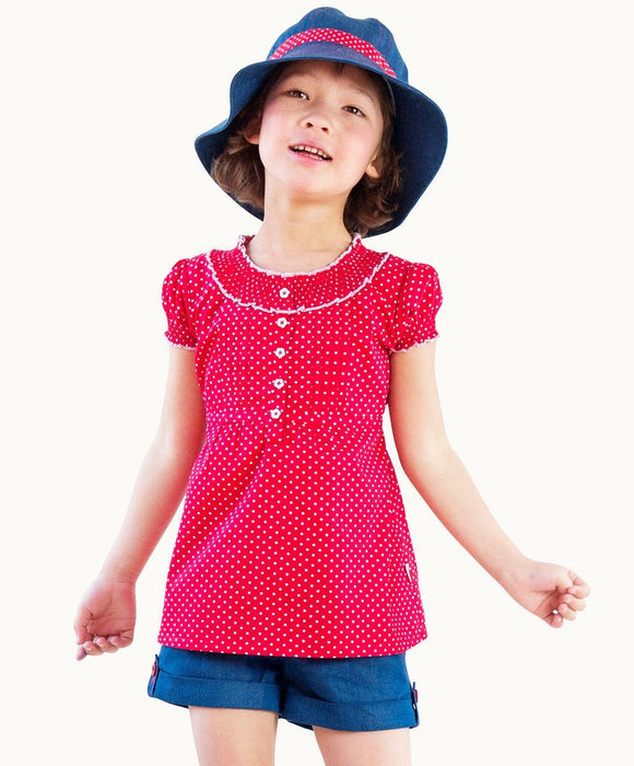 Red Polkadots Cotton Top - Visible.Clothing