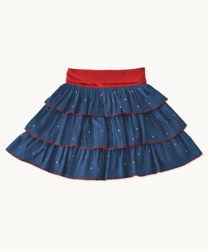 Embroidered Denim Party Time Skirt - Visible.Clothing