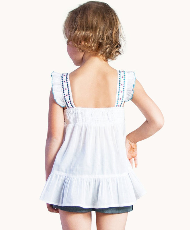 Embroidered White Top - Visible.Clothing