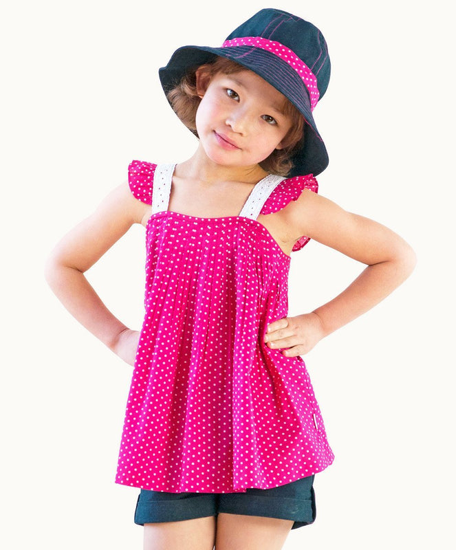 Hot Pink Polkadots Cotton Top - Visible.Clothing