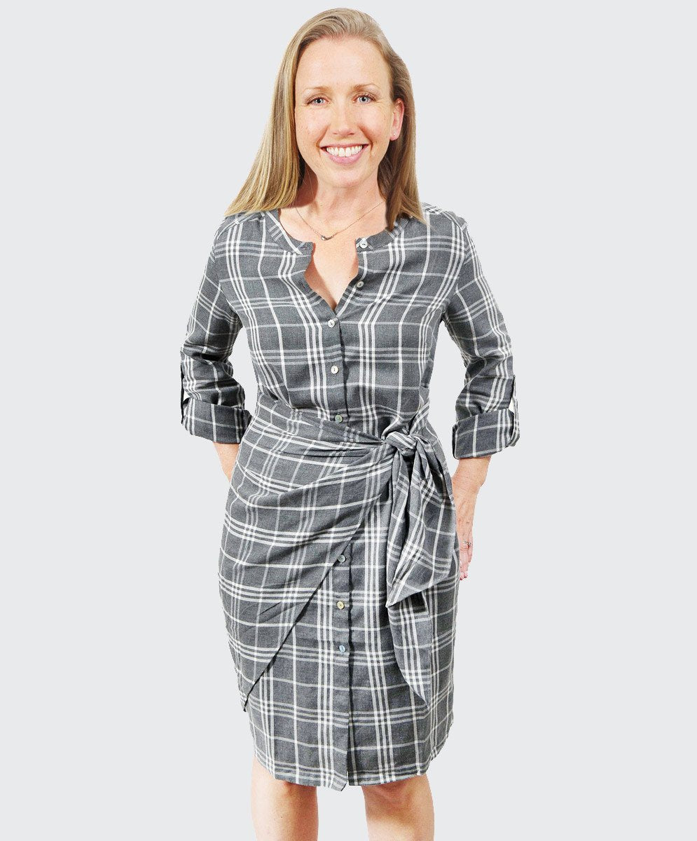 Melange Check Wrap Shirt Dress