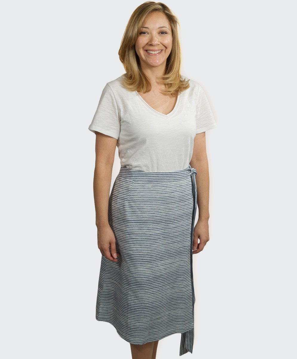 Multi Stripe Wrap Skirt